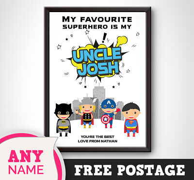PERSONALISED Superhero Print Gift Idea Present Uncle Brother Keepsake Birthday