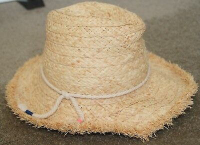 """GIRLS ~COUNTRY ROAD~ 100% RAFFIA WOVEN """"STRAW"""" SUMMER HAT w ROPE & FRAYED EDGE M"""