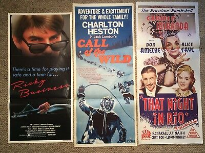 3. Orig Daybill Movie Posters  NIGHT IN RIO ,RISKY BUSINESS. CALL OF THE WILD