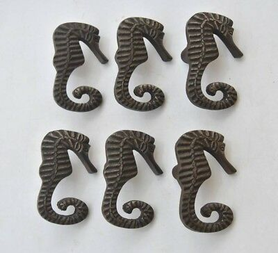 Vintage cast iron SEA HORSE cabinet drawer door knobs handles pull rustic 6pcs