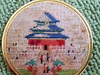 Vintage Pendant China Petit Point Needlepoint Embroidered Signed Pagoda Rare WOW