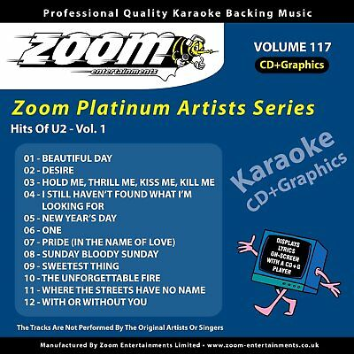 Zoom Karaoke Platinum Artists Vol. 117 CD+G - Hits Of U2