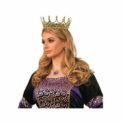 NEW Gold Medieval Adult Royal Queen Crown Plastic Costume Accessory Princess