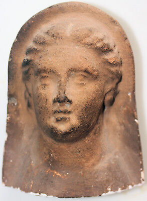 Large pottery head of a goddess, possibly Greek or Etrucan, restored