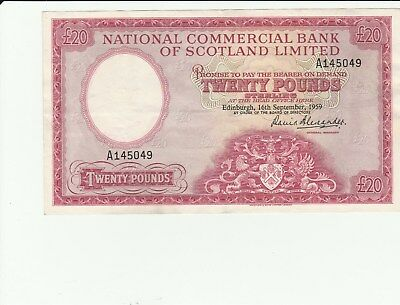 Scotland National Commercial Bank 20 Pounds 1959 VF