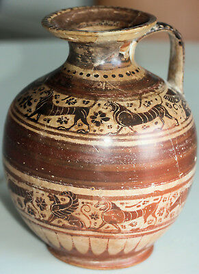 Large painted pottery jug with animals, possibly ancient Greek. With museum info