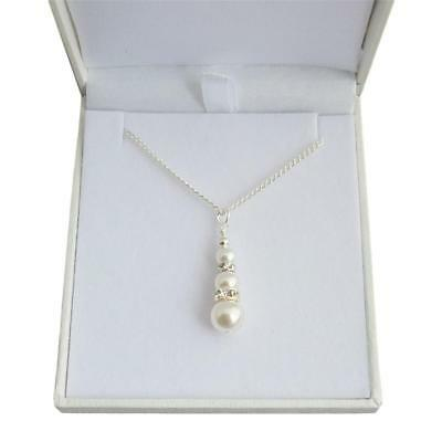 Pearl Lariat Style Bridal Necklaces for women Brides Bridesmaids Wedding 32SW