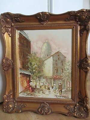 Beautiful Paris Street Scene - French Impressionist Oil Painting - Signed Church