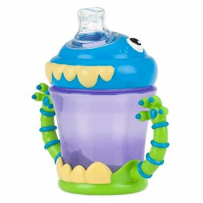Nuby Two-Handle iMonster No-Spill Super Spout Cup, 7 Ounce New