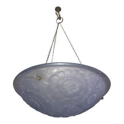 French Art Deco Blue Frosted Glass Pendant Or Chandelier Circa 1930s.