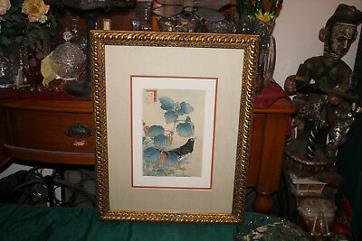 Antique Japanese Wood Block-Sugukudo-C. 1858-Bird Hiding In Trees-Custom Framed