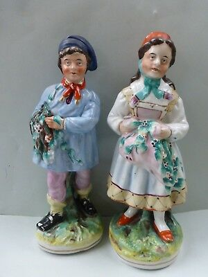 Superb Large Pair Of Children Gathering Holly - Thomas Parr Pottery C.1850 N/d