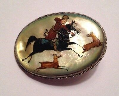 RARE - Antique Equestrian Horse Hunt Mother Of Pearl Brooch