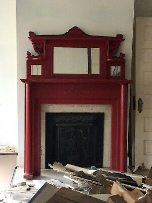 Vintage Fireplace Antique Carved Fireplace Mantle Painted RED French? Victorian?