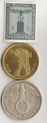 """-*WWII - *german  SILVER coin / stamp  + *egyp. """"CLEOPATRA"""" coin"""