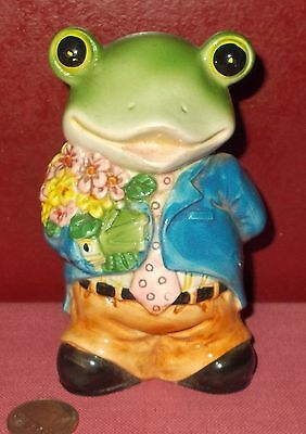 Vintage Porcelain Ceramic FROG FIGURINE Marriage Proposal Dating Love *