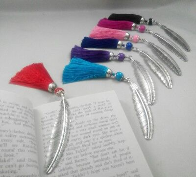 BOOKMARK - Large Feather (105mm x 20mm) Tibetan Silver Charm With Long Tassel .