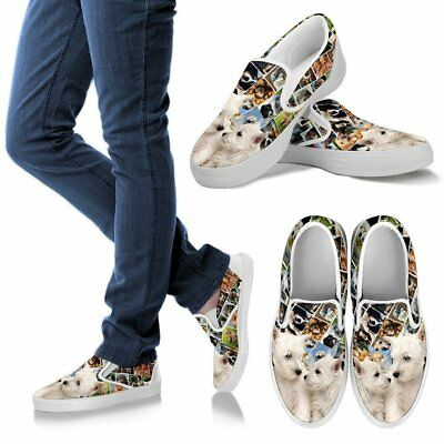 Amazing West Highland White Terrier (Westie) Print Slip Ons For Women-Express Sh