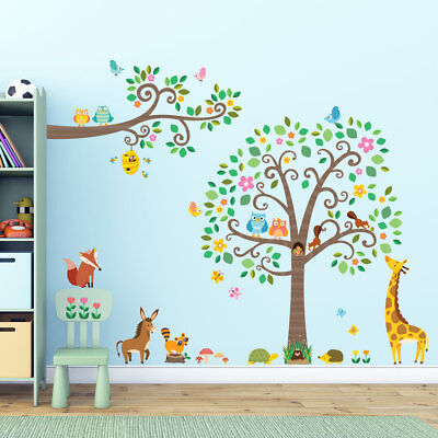 Decowall Animals Tree Nursery Kids Removable Wall Stickers Decal DA-1502P1512
