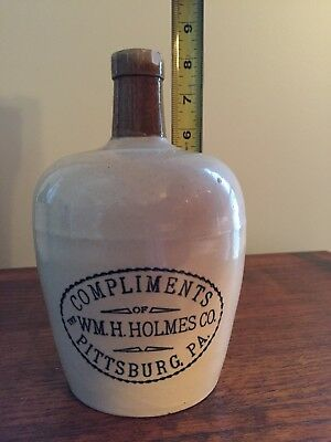 Compliments of The WM. H. Holmes Co. Pittsburg, PA Stoneware AdvertIsing Jug