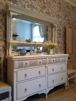 Victorian Dresser with Mirrors, Painted F&B Skimming Stone