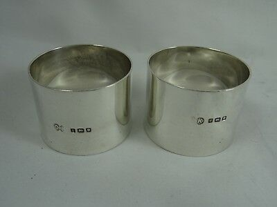 LARGE pair, solid silver NAPKIN RINGS, 1944, 89gm