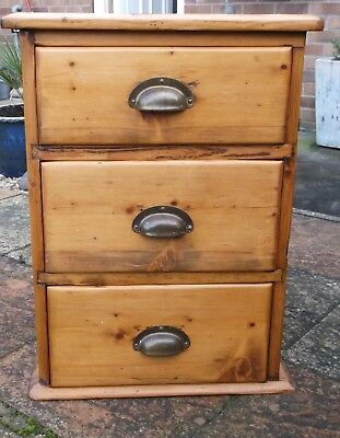 Vintage Small Pine 3 Drawer Chest with Brass Cup Handles