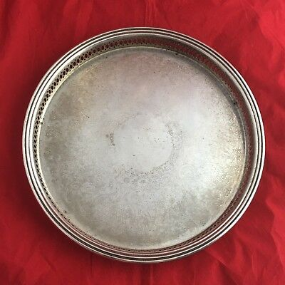 Round Reticulated Silver Plate Drink Service Tray Pierced Metal Etched  Platter