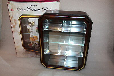 Small Wood Effect & Glass Display Cabinet For Ornaments / Collectables Boxed