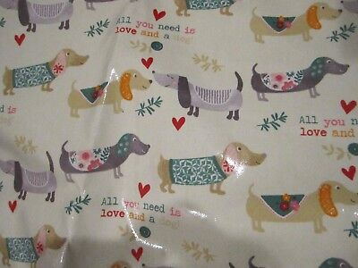 """Dachshund Sausage Dog Vinyl Apron """"All you need is love and a dog!"""" NWT"""