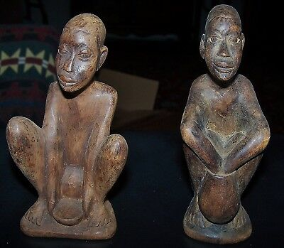 African Folk Art Figures-Nicely Carved And Old-Not Repro