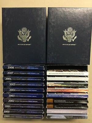 1999 - 2017 Proof Clad Quarters State, Territory, National Park Sets w/OGP