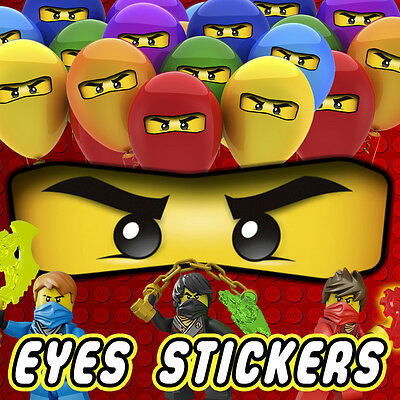 16/32/64 x Lego Ninjago Eyes Stickers for Balloons Bags Cones Birthday Party