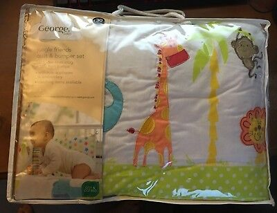 ASDA George Baby Jungle Friends Quilt & Bumper Set Cot & Cotbed Brand New