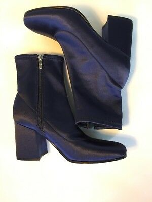42995d20530 Marc Fisher Satin Stretch Ankle Boot CELA 7.5 Block Heel New Midnight Mod  Disco