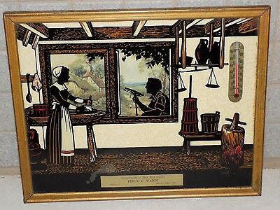 Vtg SiLhoueTTe ThermomeTer PicTure CompLimenTs of Yr MiLk HauLer Wis AmisH Kitch