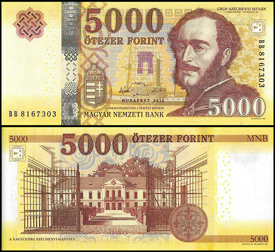 Hungary 5,000 - 5000 Forint Banknote, 2016, P-NEW, UNC