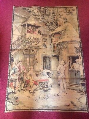 Vintage French Rococo Romantic Ladies Men Courtyard Tapestry Wall Hanging