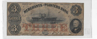 $3 1856 MERCHANTS & PLANTERS BANK SAVANNAH GEORGIA OBSOLETE Note