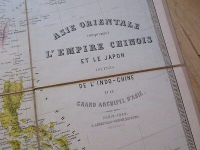 Superbe Carte 1860 Empire Chinois Japon Indochine Chine Couleur 107X66 Tonkin