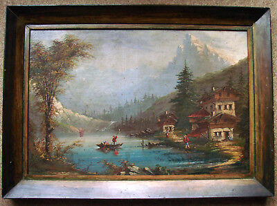 GROß 19th CENTURY 1870 MOUNTAINS SCHWEIZ SUISE  GEMALDE SIG A.GINS OIL ON CANVAS
