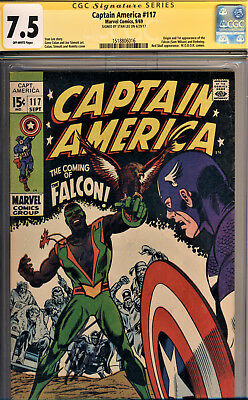 Captain America #117 Cgc 7.5 Ss By Stan Lee~Origin/1St App The Falcon & Redwing!