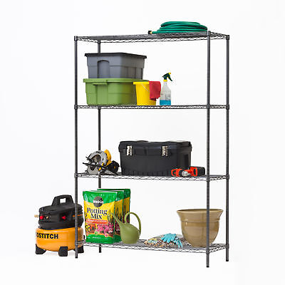 HSS 4 Tier Wire Shelving Rack, Black Anthracite, 18'Dx48'Wx72'HHSS 4 Tier Wire