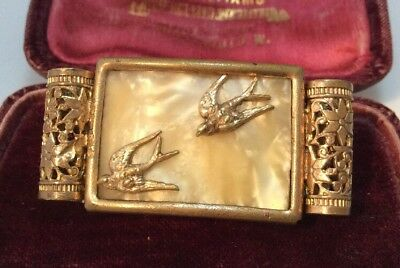 Vintage Art Deco gorgeosu french mother of pearl swallow birds brooch