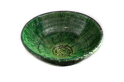 Unique Elegant Handcrafted BOL EXTRA LARGE Tamegroute Green Glazed Pottery