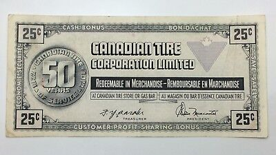 1972 Canadian Tire Money 25 Cents CTC-S2-D Circulated 50 Years Banknote E151