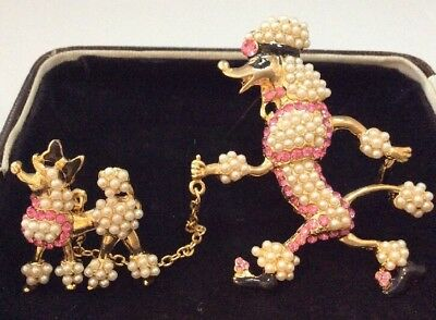 Vintage Jewellery fabulous seed pearl and pink crystals poodle dog chain brooch