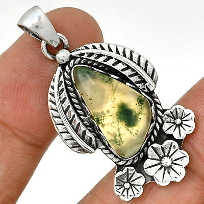 Moss Agate 925 Sterling Silver Pendant  Jewelry PP112182