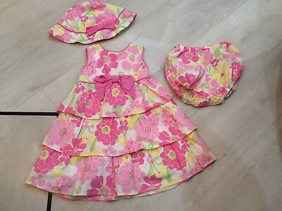 Girls Designer Julian's Closet Outfit Dress Hat And Knickers Age 18 Months Bnwt