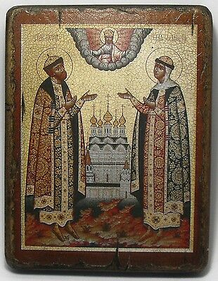 Handmade copy ancient ORTHODOX CHURCH ICON Sts Peter and Fevronia of Murom 44L